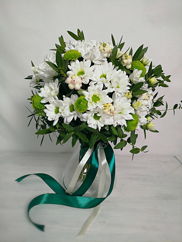 Кустовая хризантема свадебный букет, тюльпанов валентина